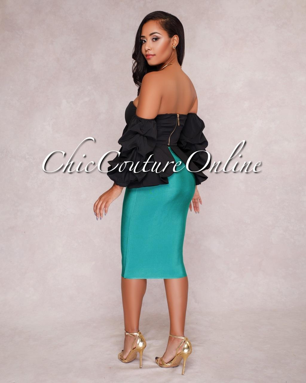 Lizeth Emerald Green Elastic Body-Con Skirt