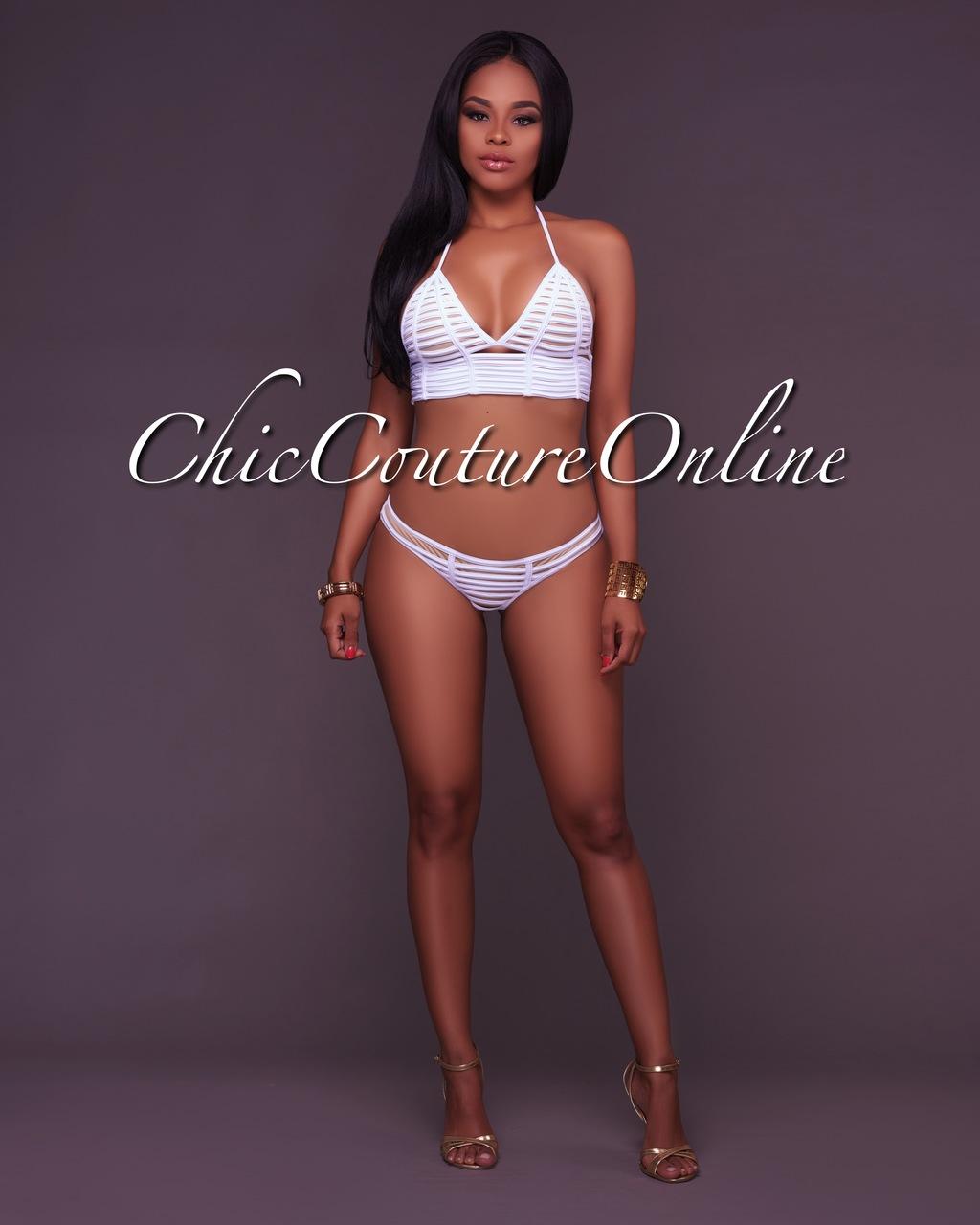 Cyan White Strappy Design 2 Piece Swimsuit