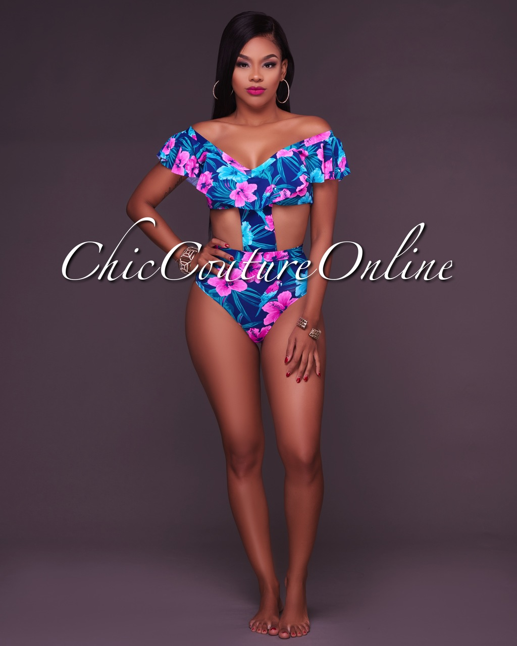 Oahu Pink Floral Cut Out Ruffle  Swimsuit