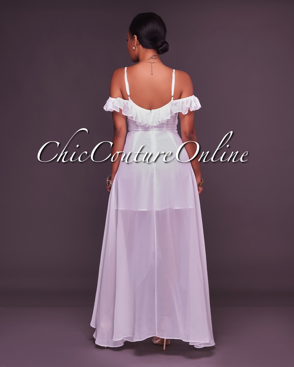 Slania Off-White Ruffle Off-The-Shoulder High-Low Maxi Dress
