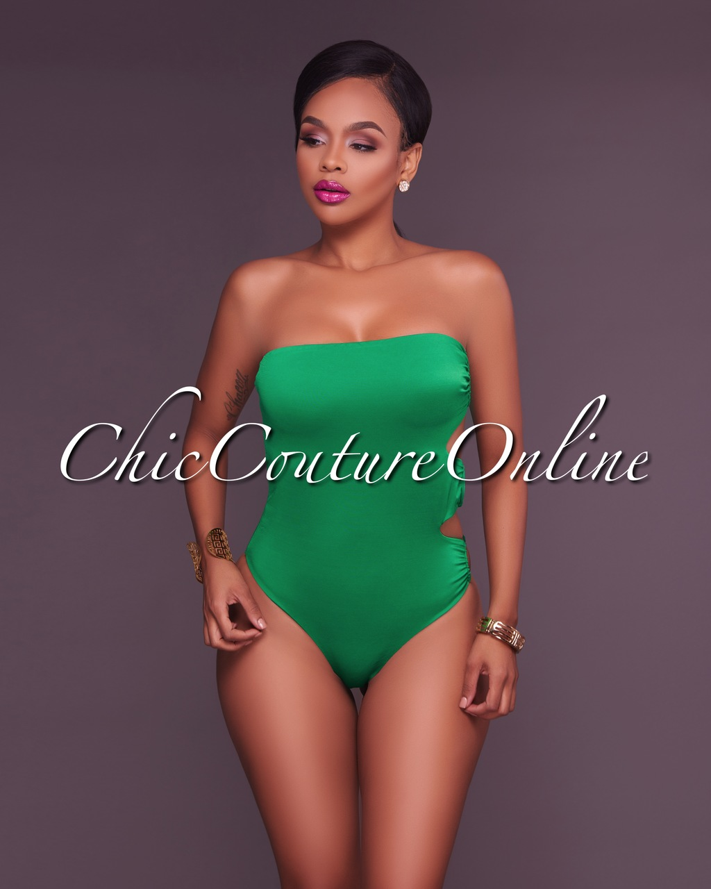 Rakel Kelly-Green Side Rings Strapless One Piece Swimsuit