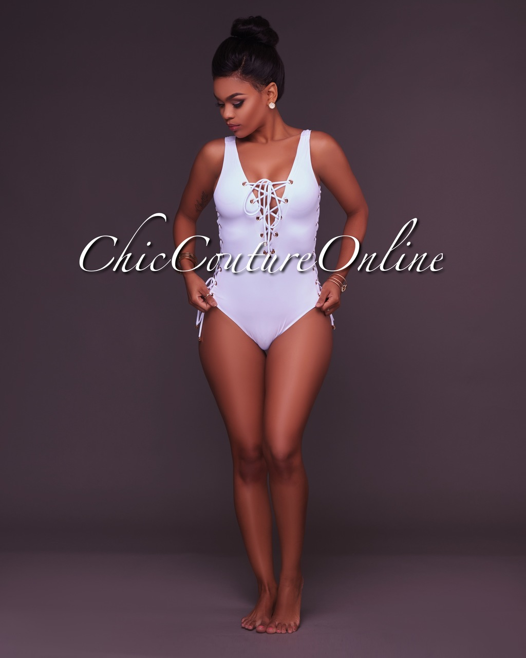 Dilara White Lace Up One Piece Swimsuit
