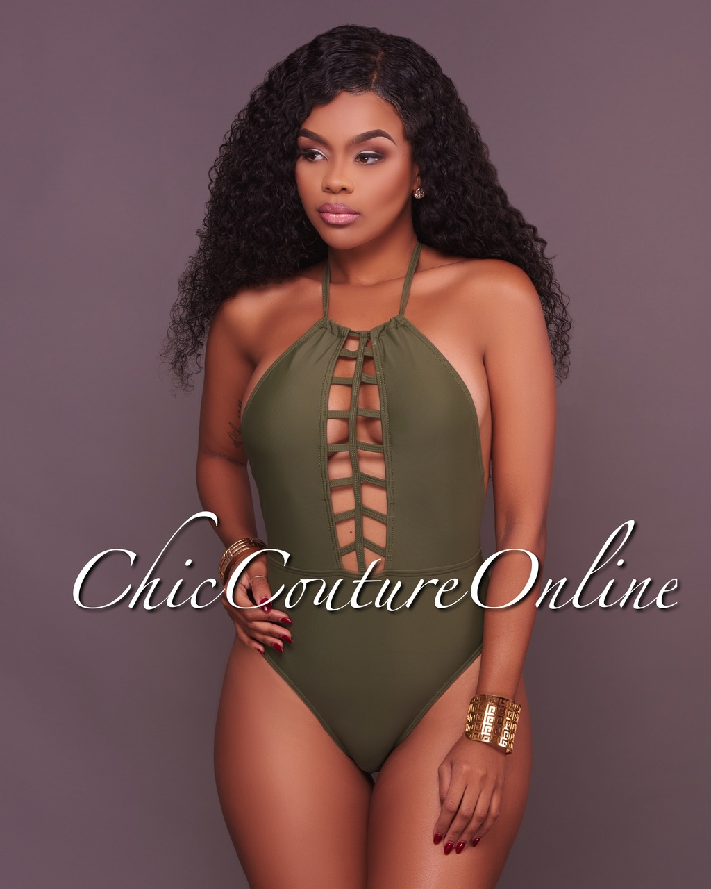 Amerie Olive Green Halter Neck One Piece Swimsuit