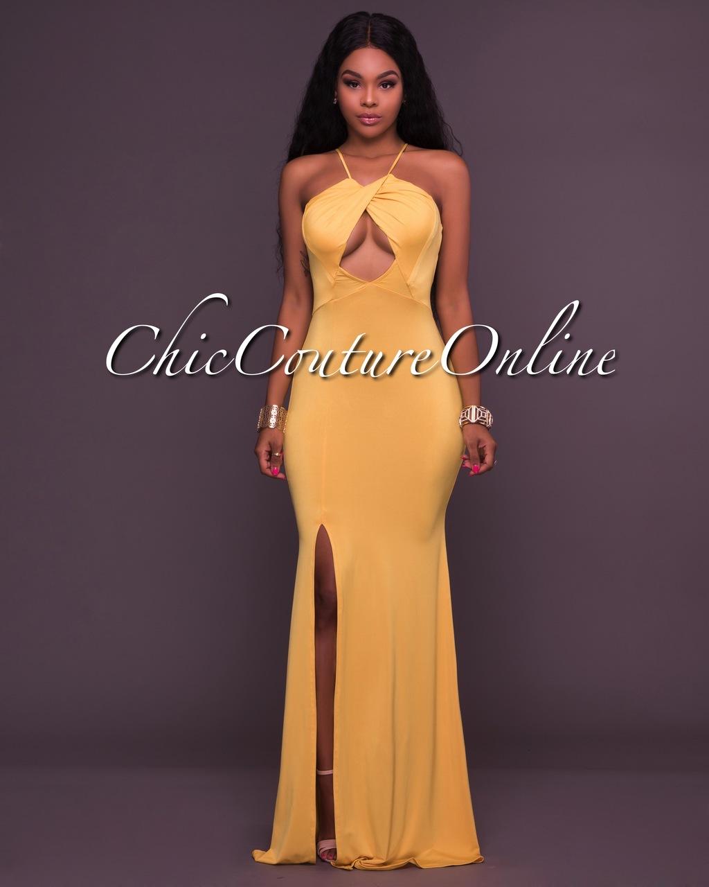 Milani Yellow Cut Out Maxi Dress