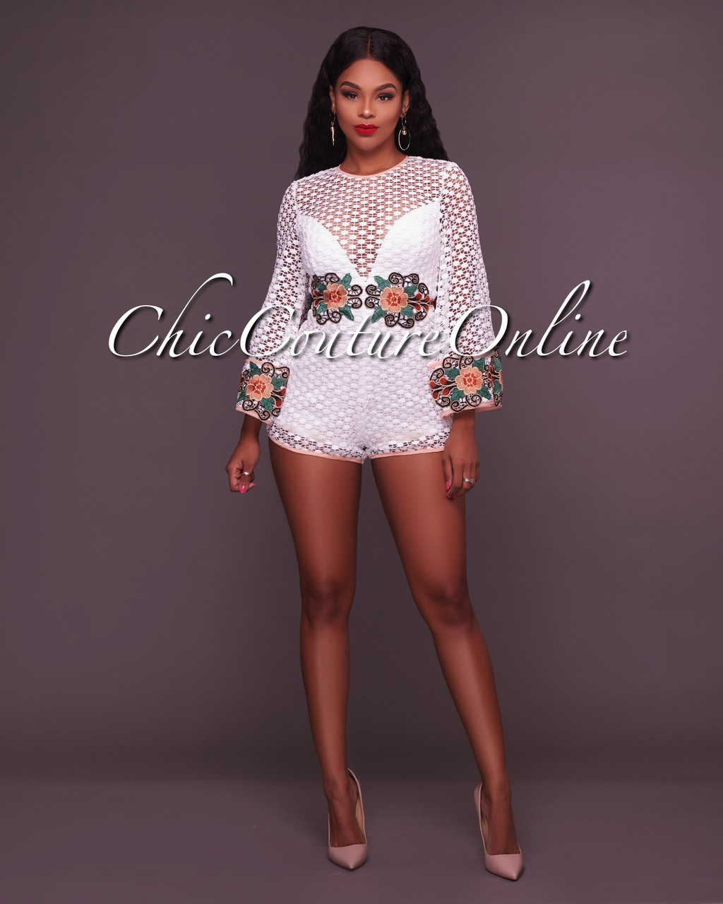 Kenley Ivory Embroidered Crochet Romper
