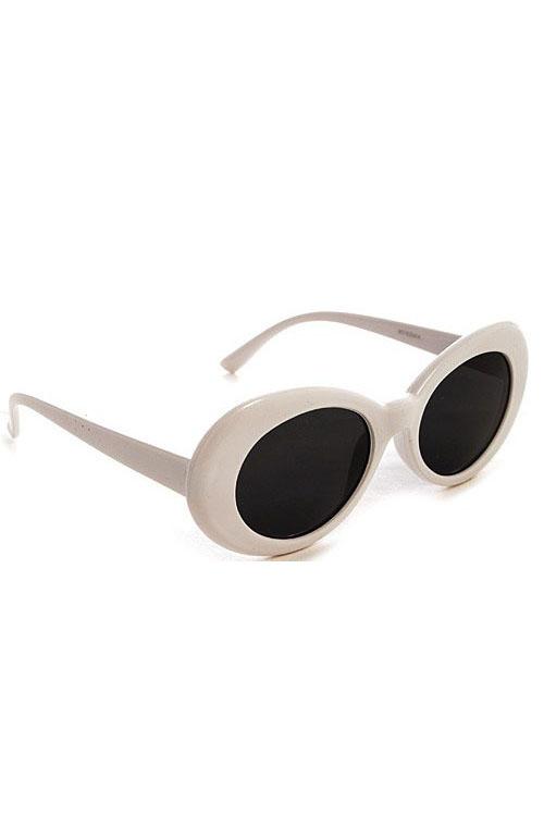 White Jackie O Retro Oval Sunglasses