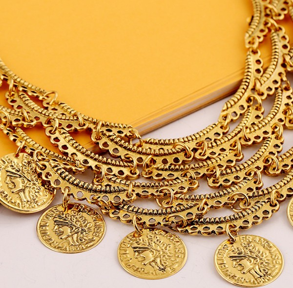 Bryce Golden Vintage Look Coin Plate Bib Necklace