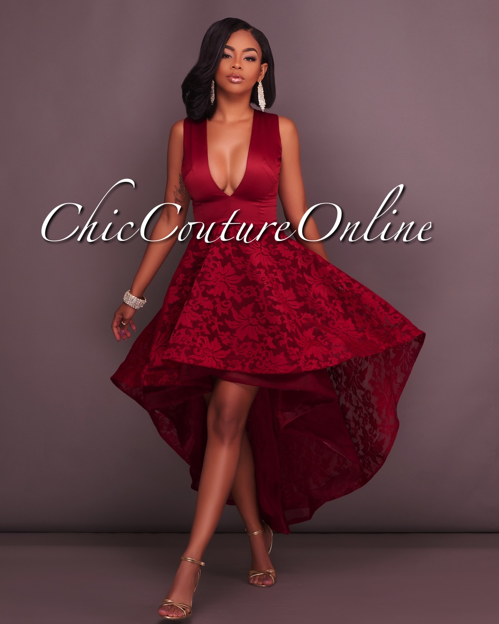 Lauren Wine Red Embroidery High-Low Dress