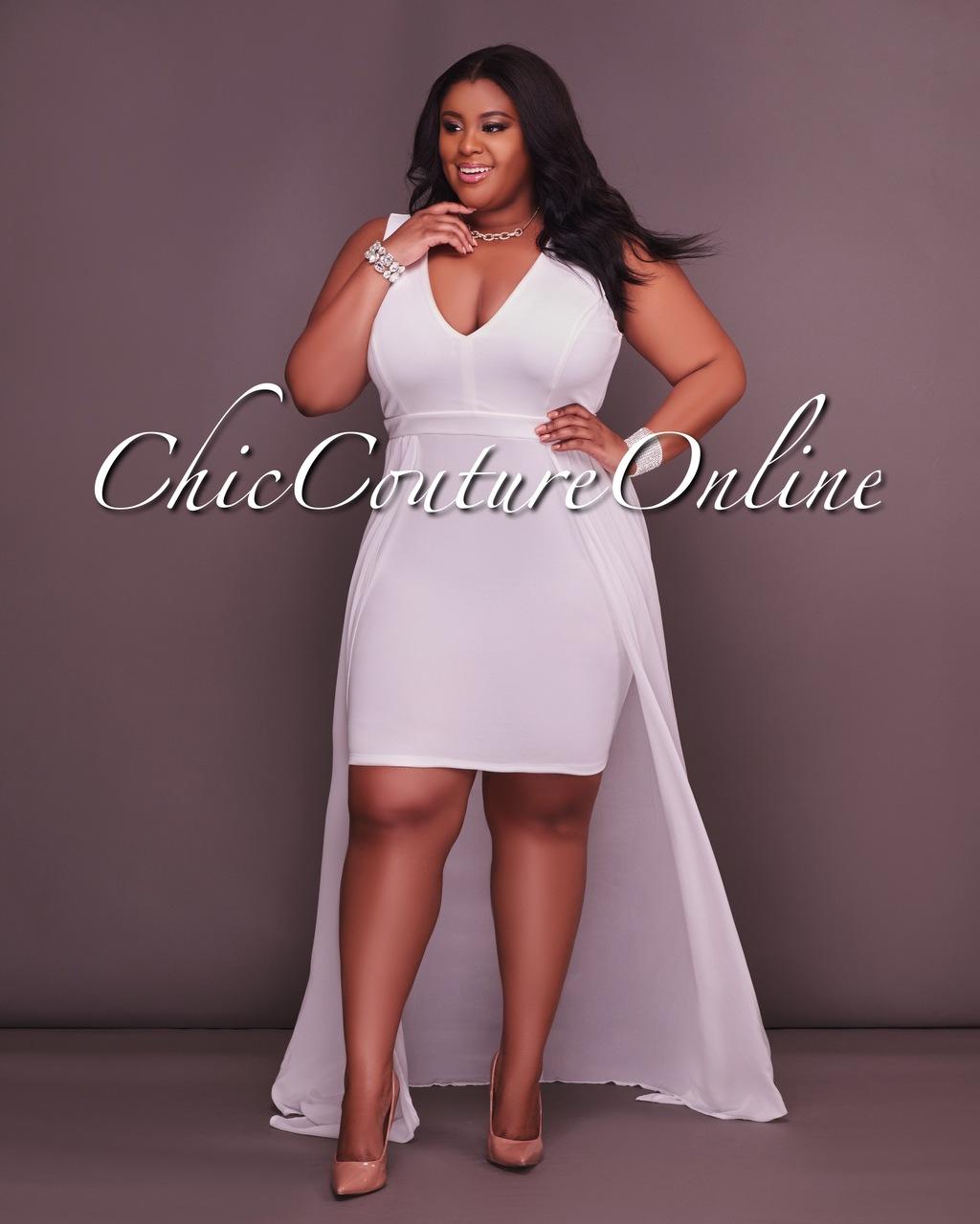 Melania CURVACEAOUS Ivory Hi Front Maxi Dress