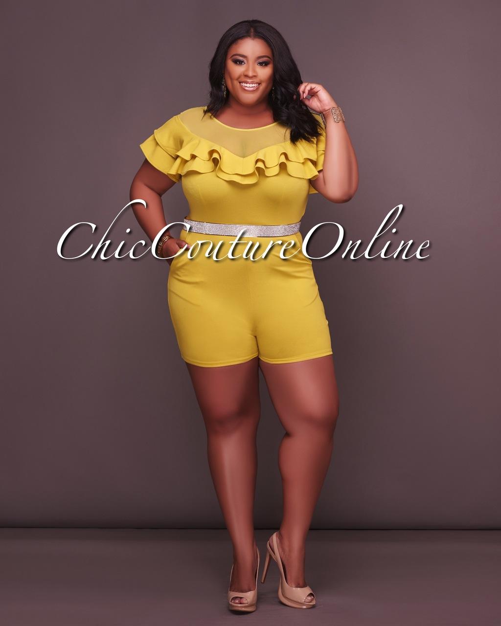 Aliyah Mesh Yellow CURVACEOUS Ruffle Romper