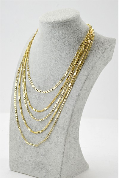 Sidney Multi Layer Gold Chain  Necklace