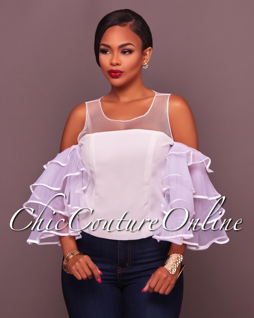 Kasira Off-White Ruffle Sleeves Top