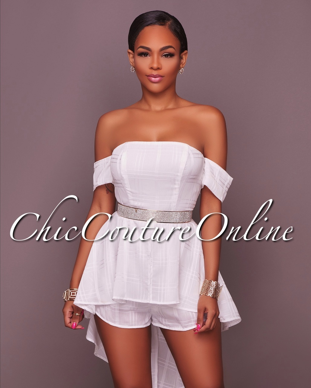 Afifa Off White Off The Shoulder Neckline Romper