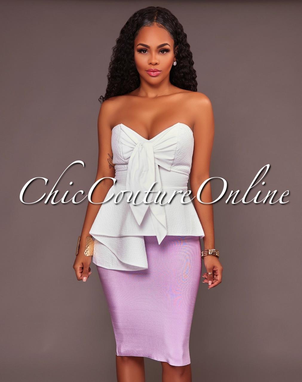 Lizeth Lilac Elastic Body-Con Skirt