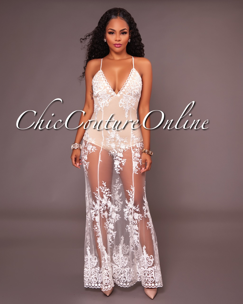 Neely Off-White Lace Nude Illusion Bodysuit Maxi Dress