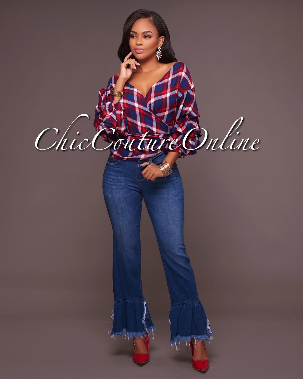 Alaina Blue Medium Wash Bell Hem Denim Jeans