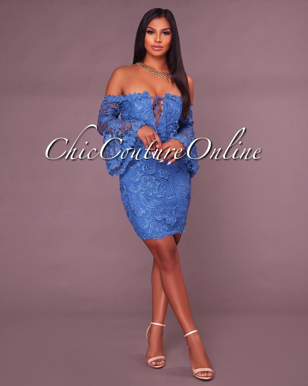 Thea Blue Crochet Overlay Off The Shoulder Fitted Mini Dress