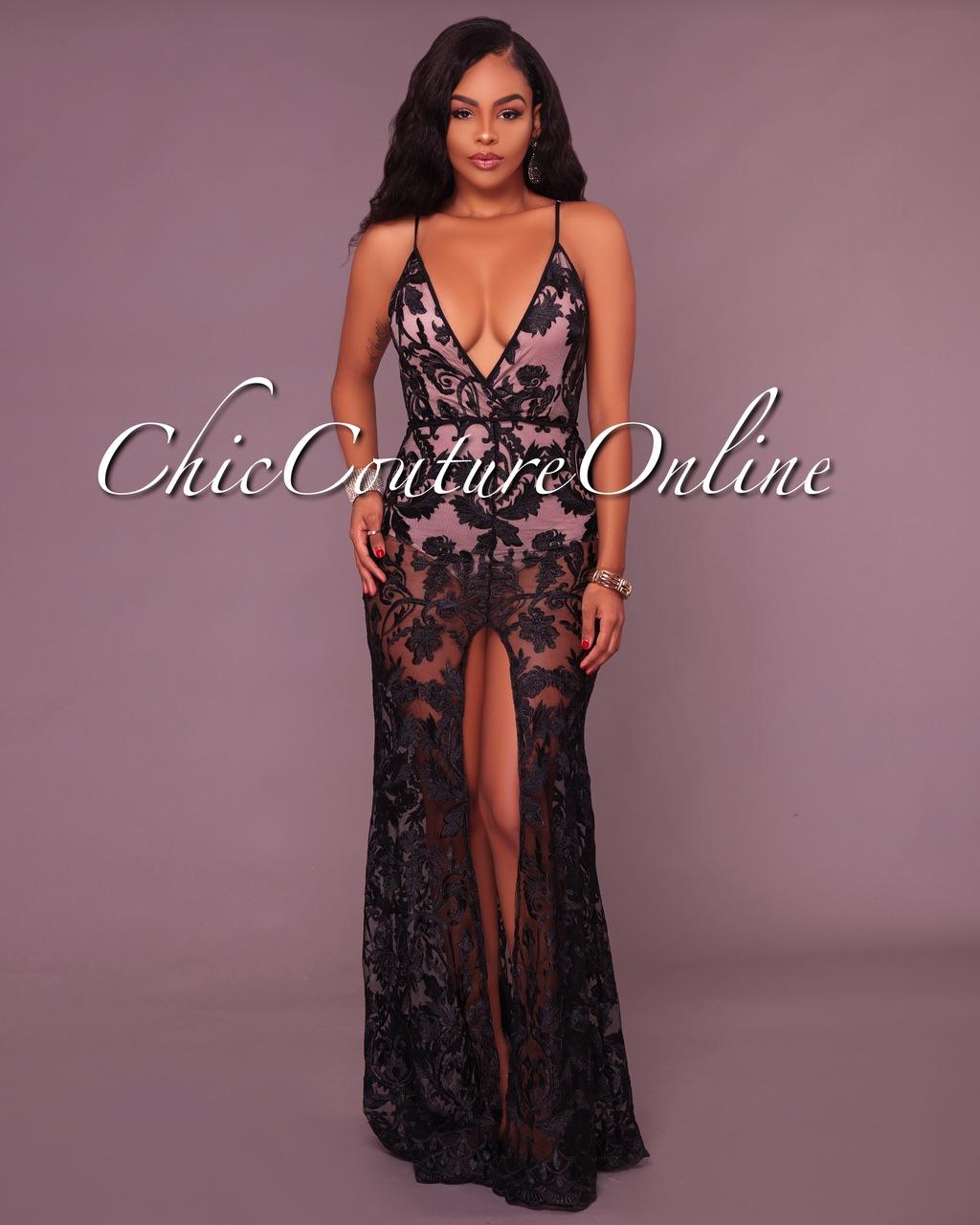 Tarvyn Black Lace Nude Illusion Bodysuit Maxi Dress