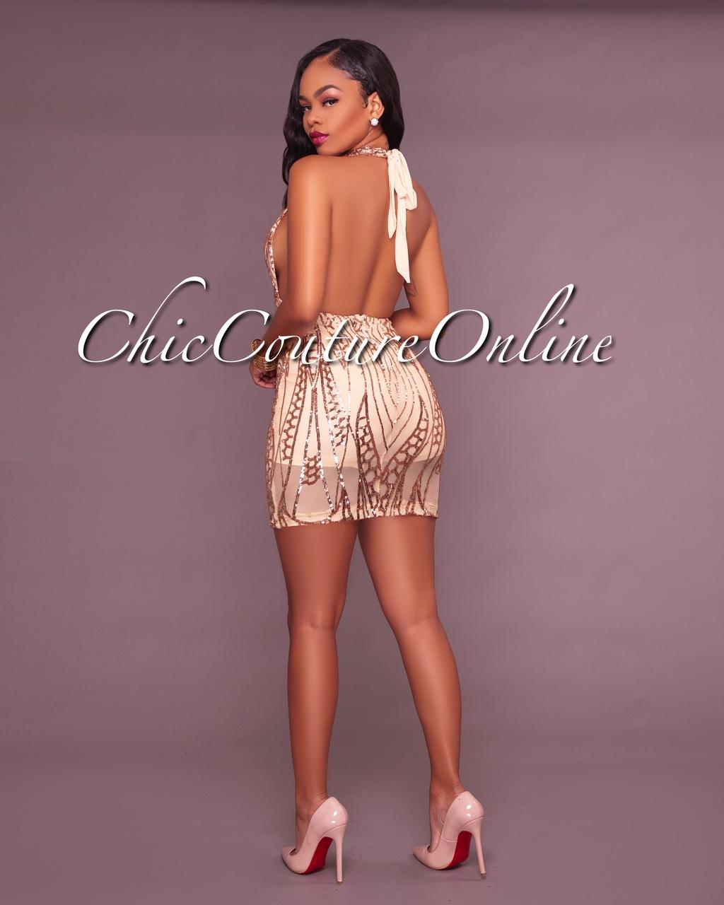 Hina Nude Deep V Sequin Mini Dress