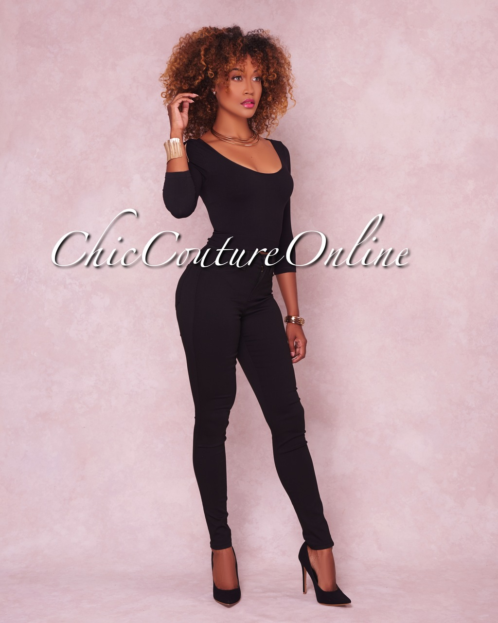 Chelsea Black Denim High-Waist Skinny Jeans