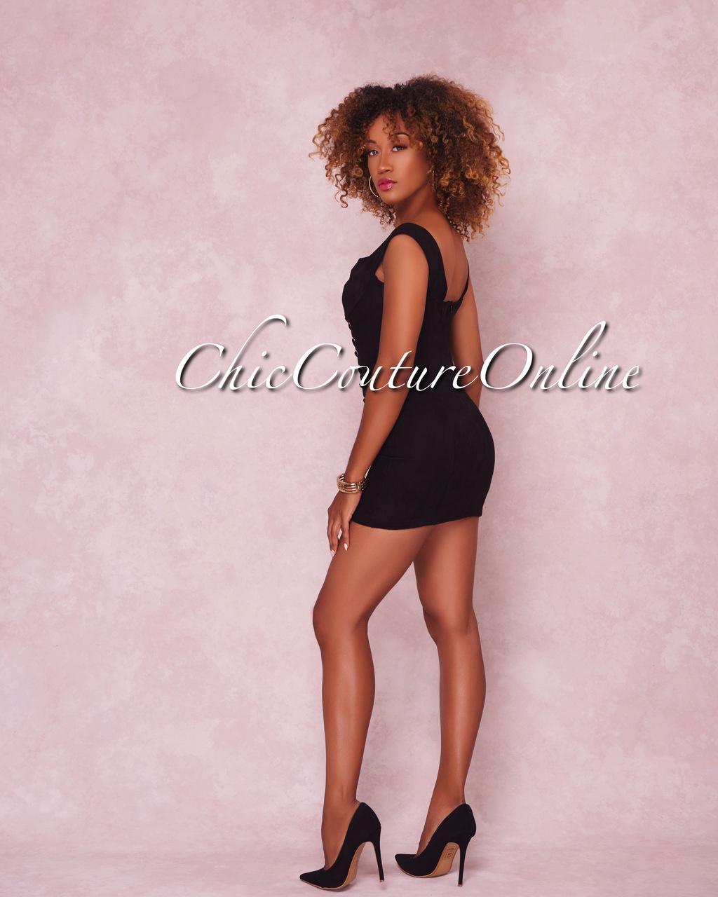 Liliana Black Lace Up Faux Suede Mini Dress