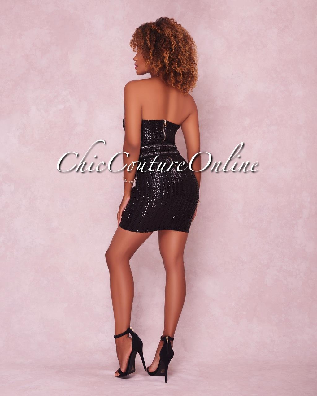 Eleanor Black Sequins Belted Strapless Mini Dress