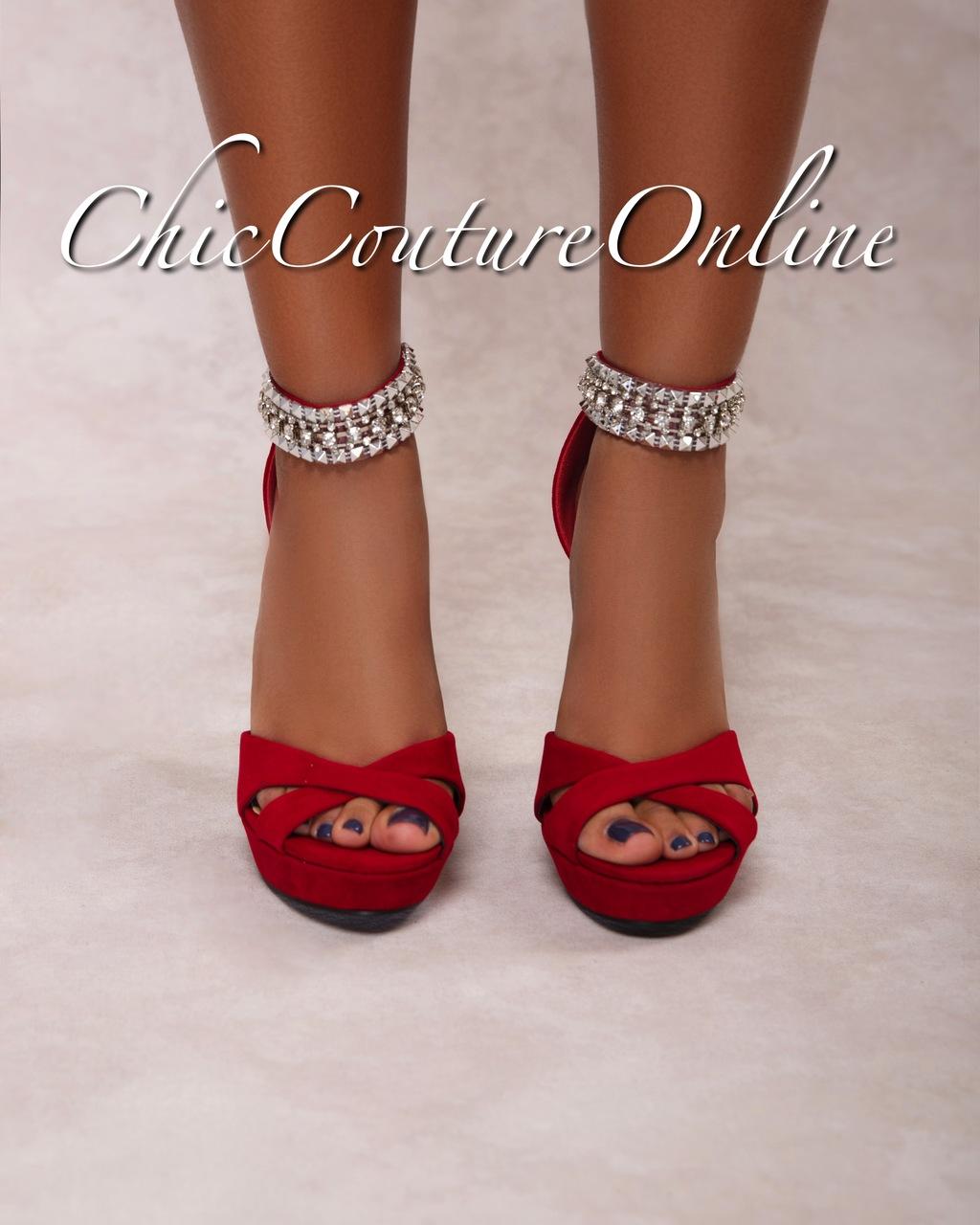 Pico Deep Red Rhinestones Ankle High Heel Sandals