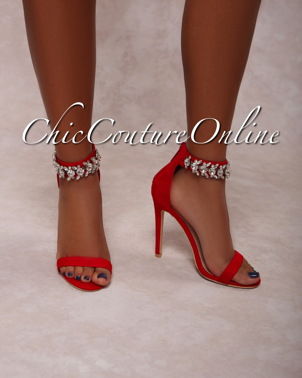 Emersson Red Rhinestones Ankle High Heel Sandals