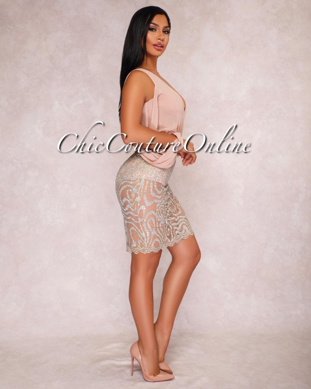 Celina Taupe Embellished Two Piece Bodysuit Set