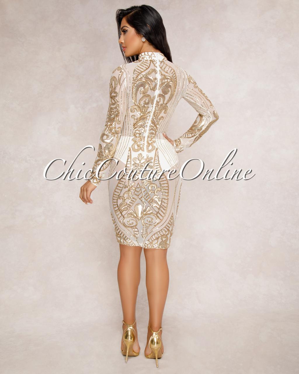 Krystal Gold Sequin Semi-Sheer Dress