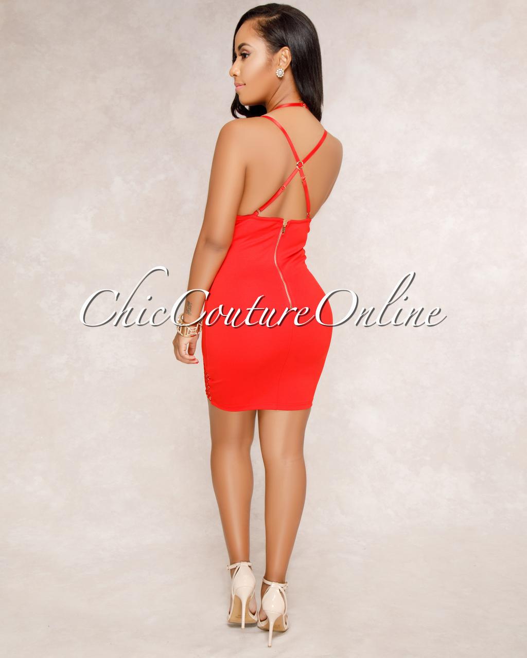 Yssa Red Nude Mesh Details Mini Dress