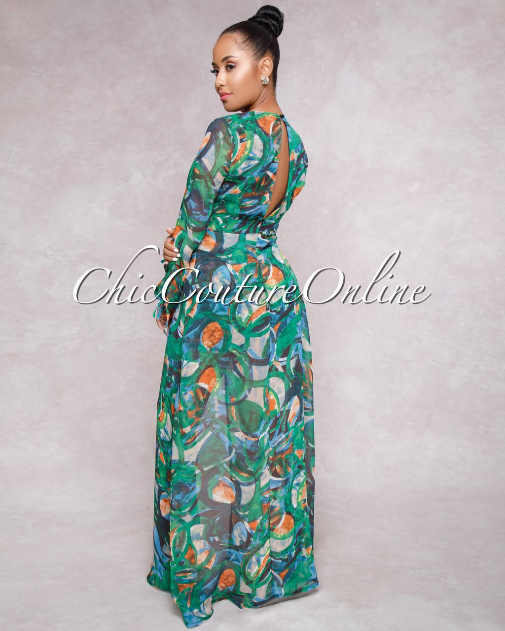 Miller Green Multi-Color Romper Maxi Dress
