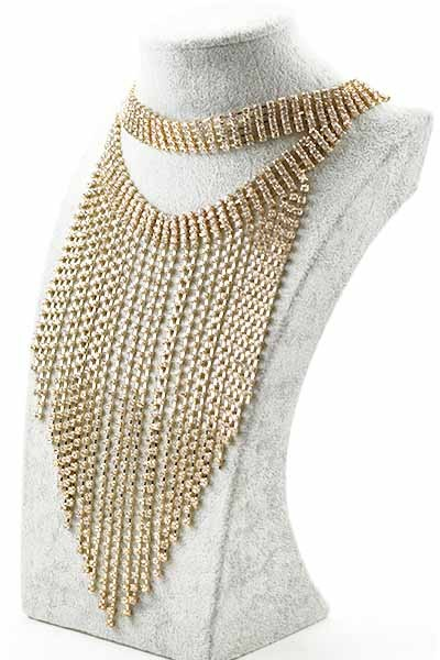 Jaxon Oversize Long Fringe Golden Choker Necklace