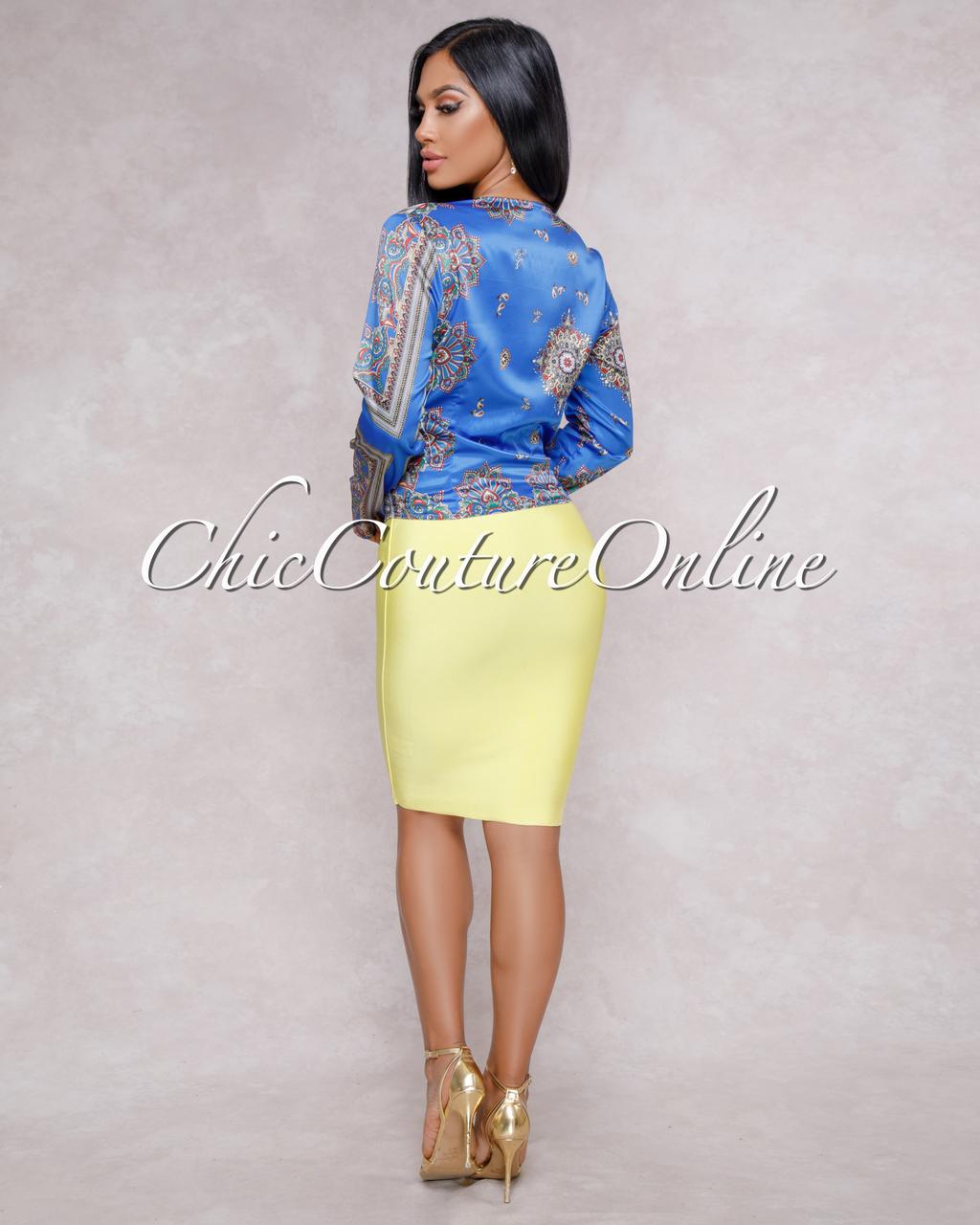 Joules Royal Blue Multi-Color Paisley Print Tie-Front Blouse