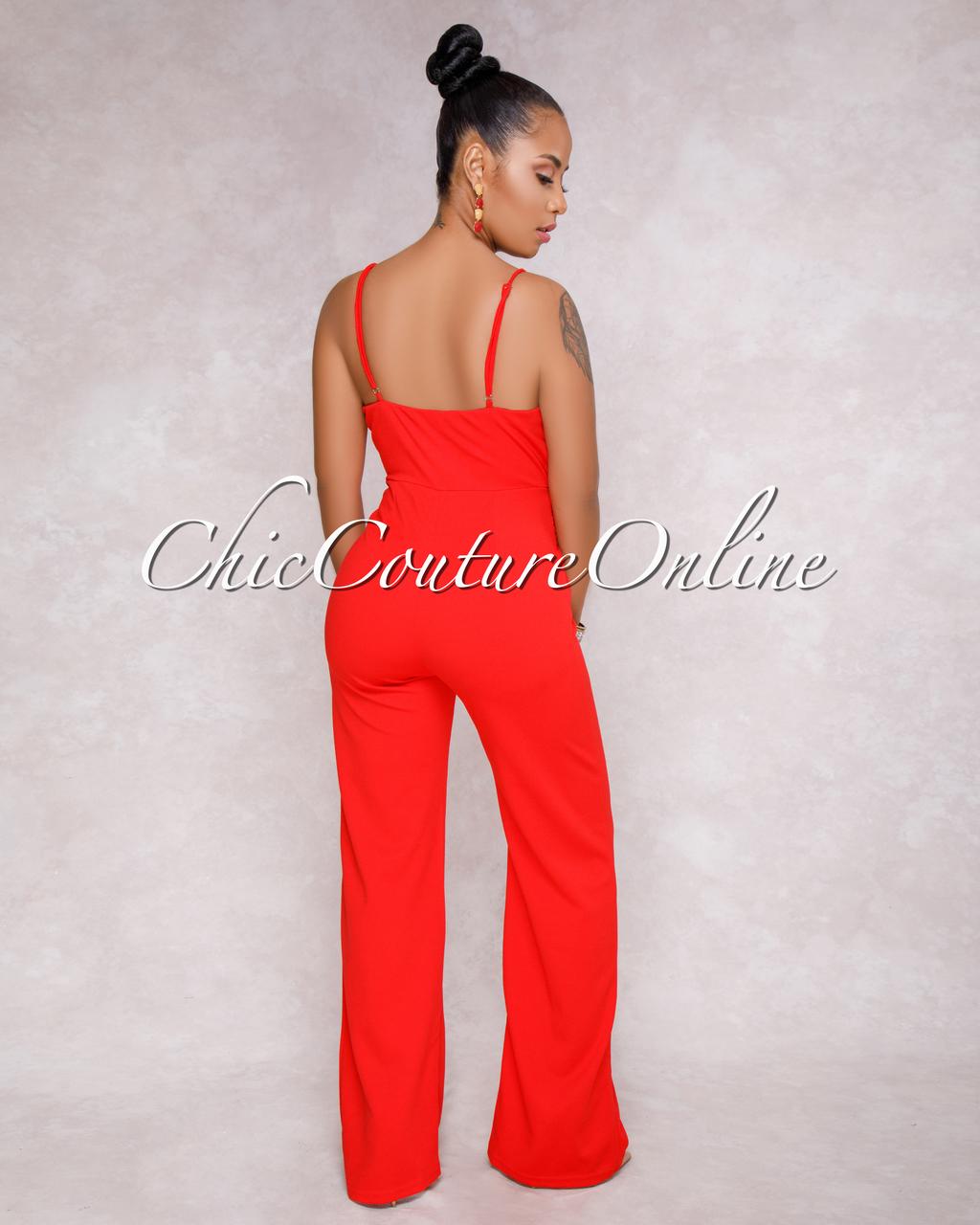 Evangeline Red Knot Front Jumpsuit