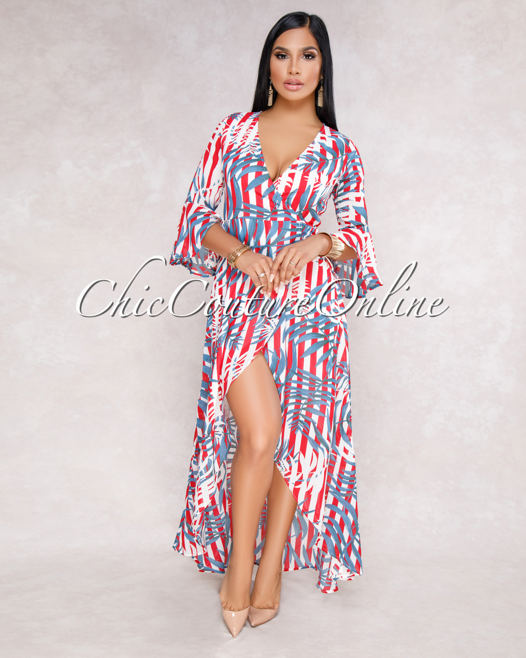 Esther Red Blue Floral Ruffle Wrap Maxi Dress