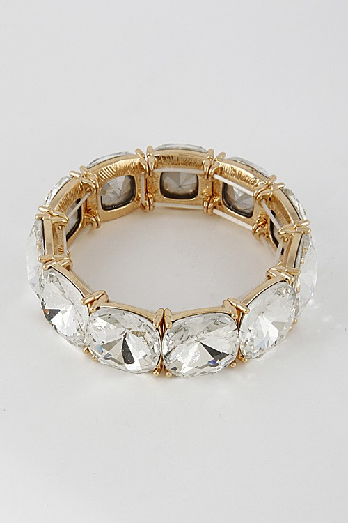 Yman Golden Big Rhinestones Chunky Bangle Bracelet