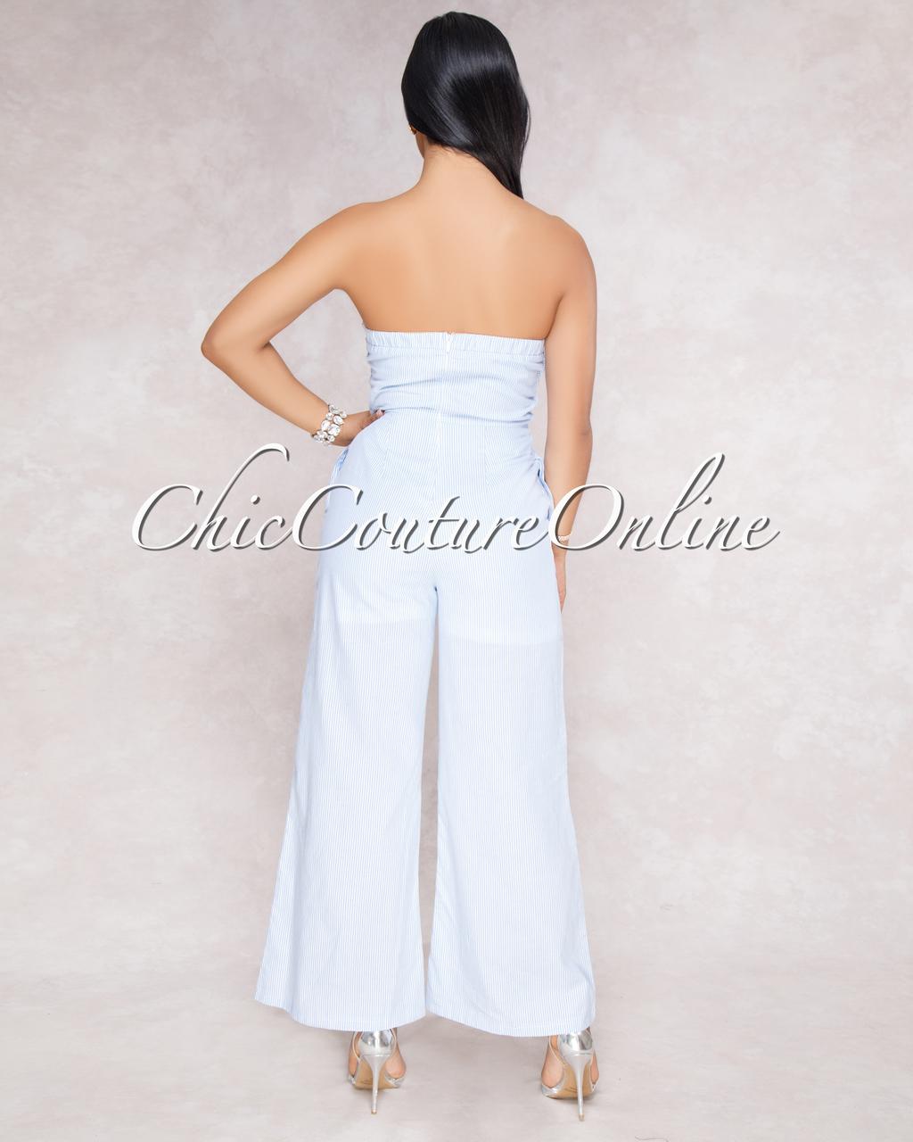 Frida White Blue Stripes Front Tie Jumpsuit