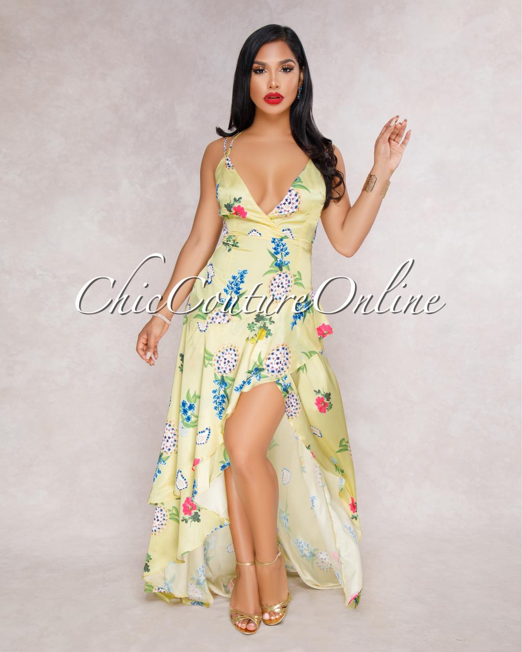 Makarena Yellow Multi-Color Floral Ruffle Maxi Dress