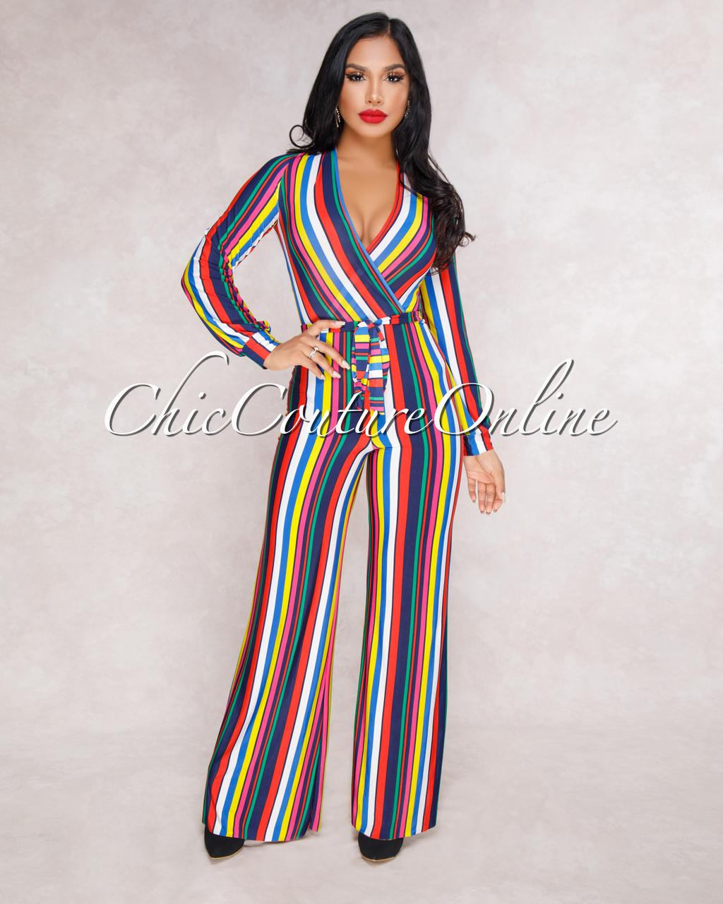 Moesha Multi Color Stripes Belted Jumpsuit