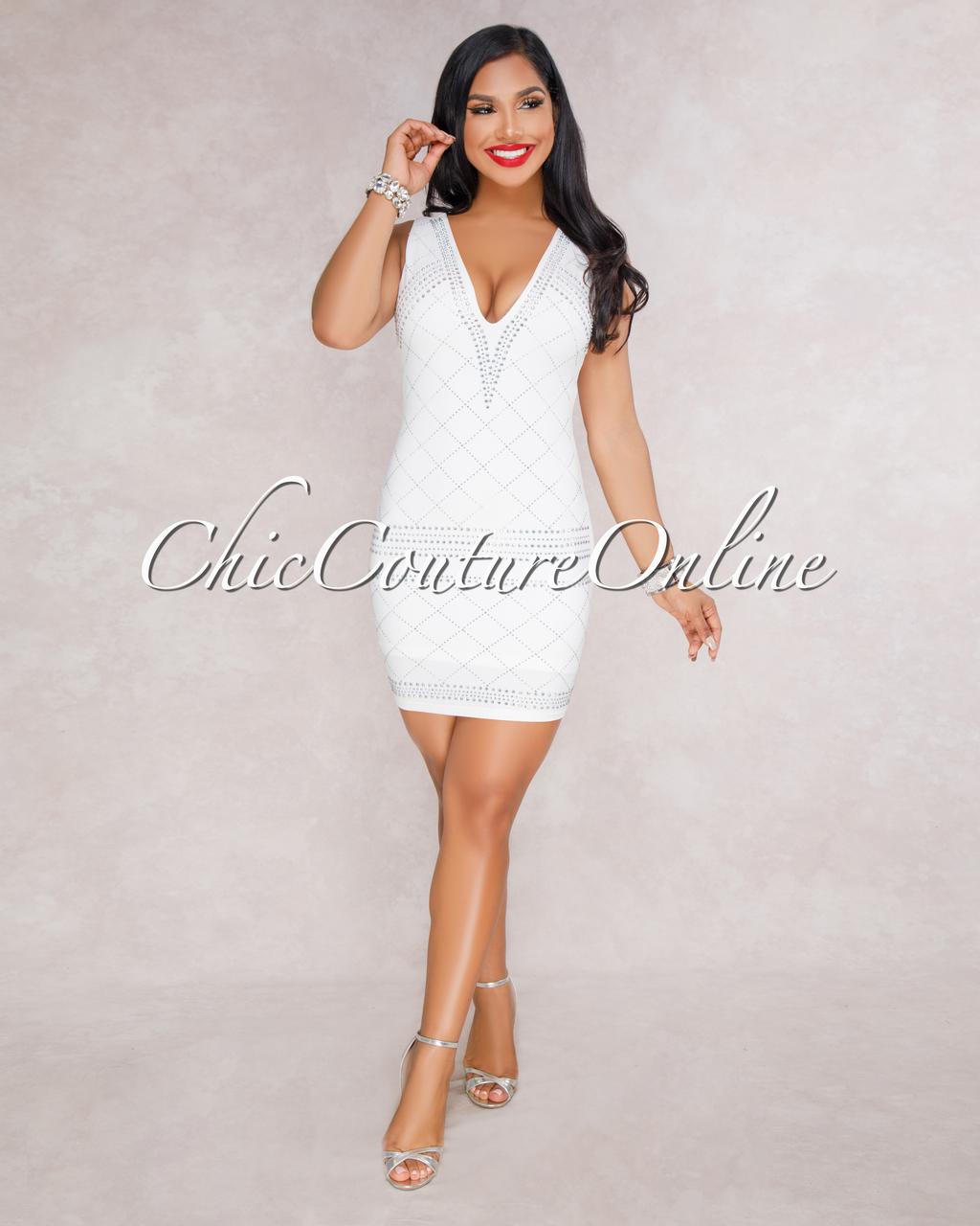 Shantana Off-White Rhinestones Embellished Dress