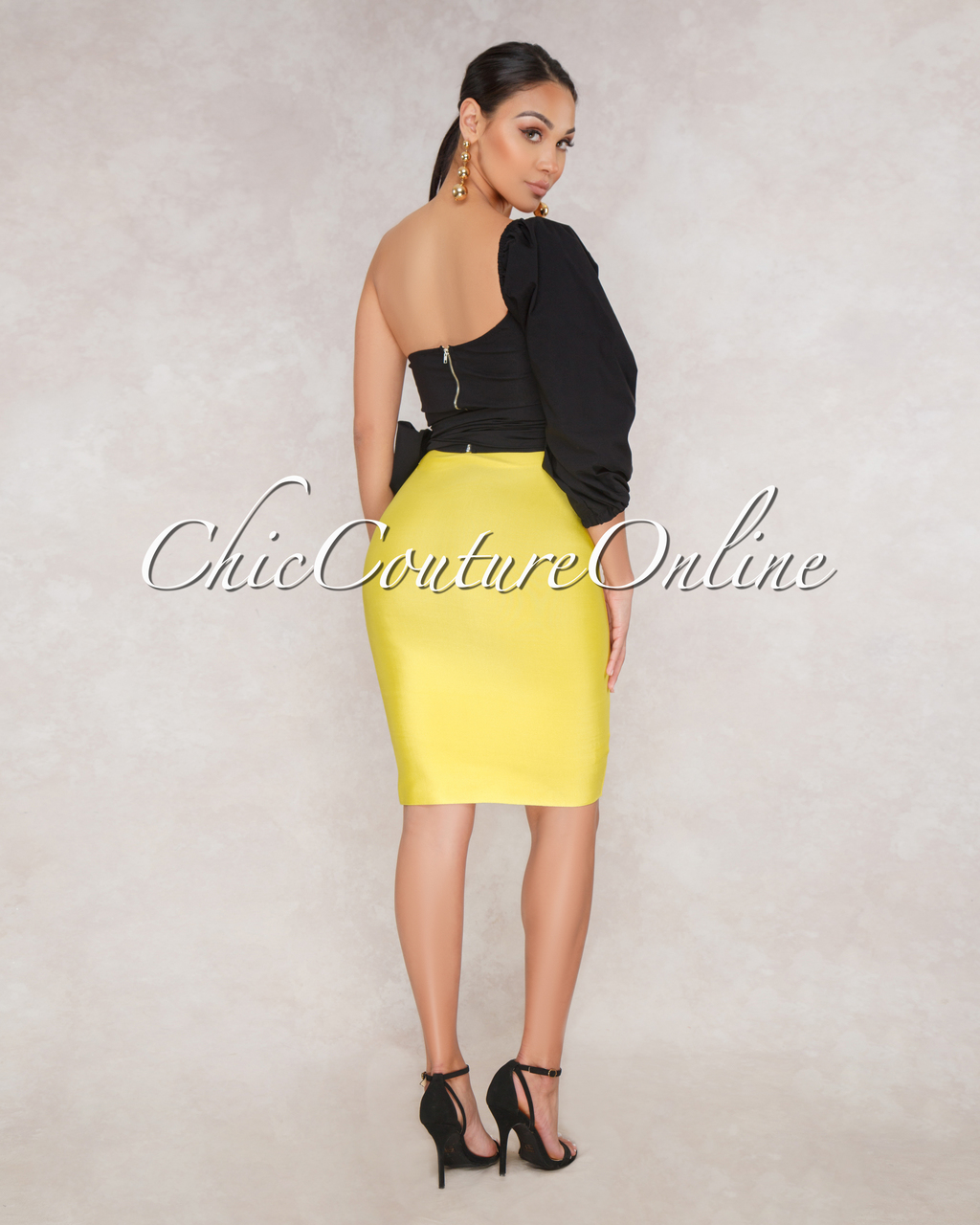 Lizeth Lemon Yellow Elastic Body Con Skirt