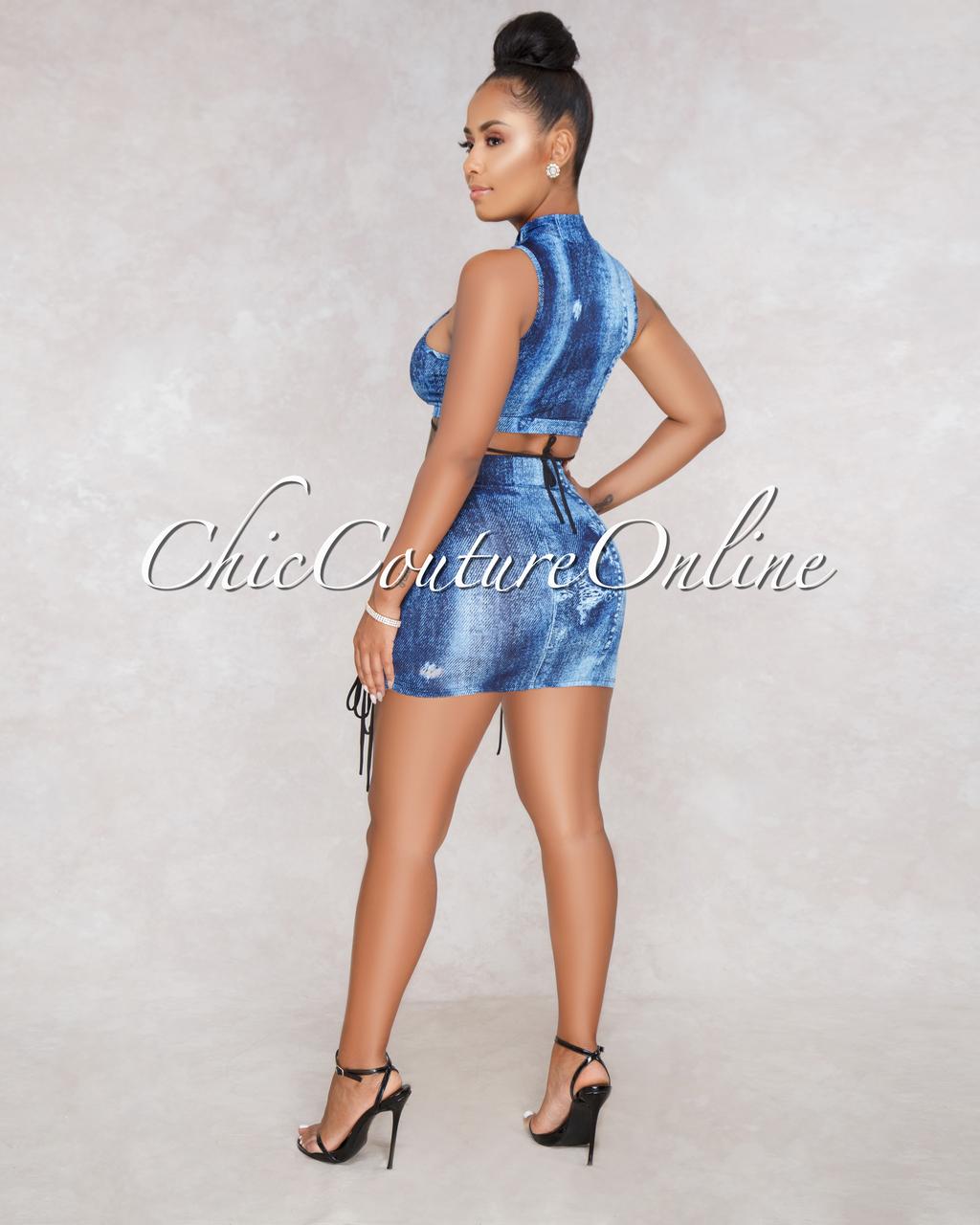 Coralie Blue Denim Print Lace Up Crop Top Shorts Set