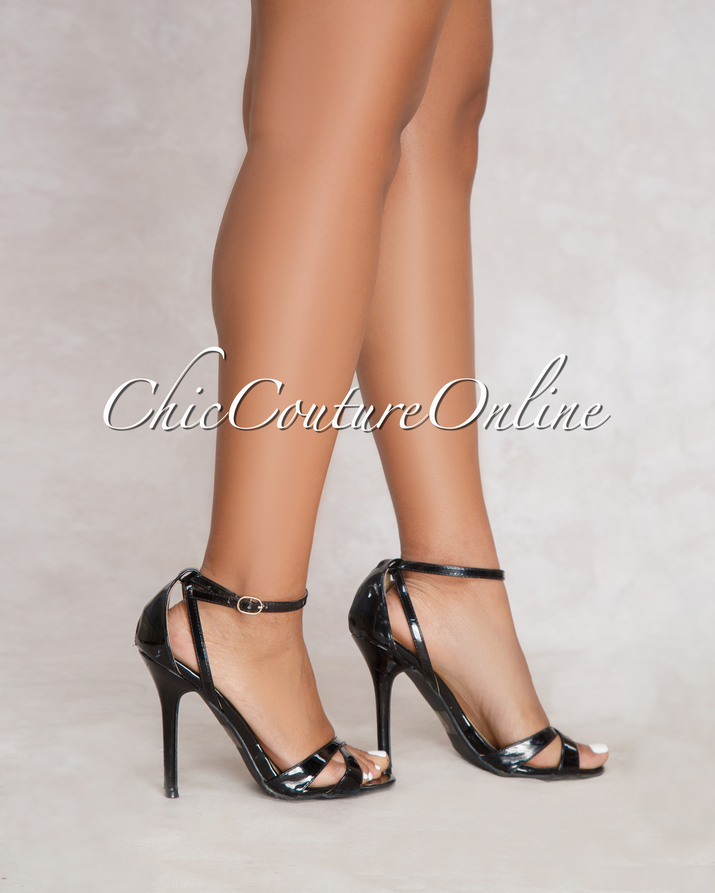 Adele Black Ankle Strap High Heels