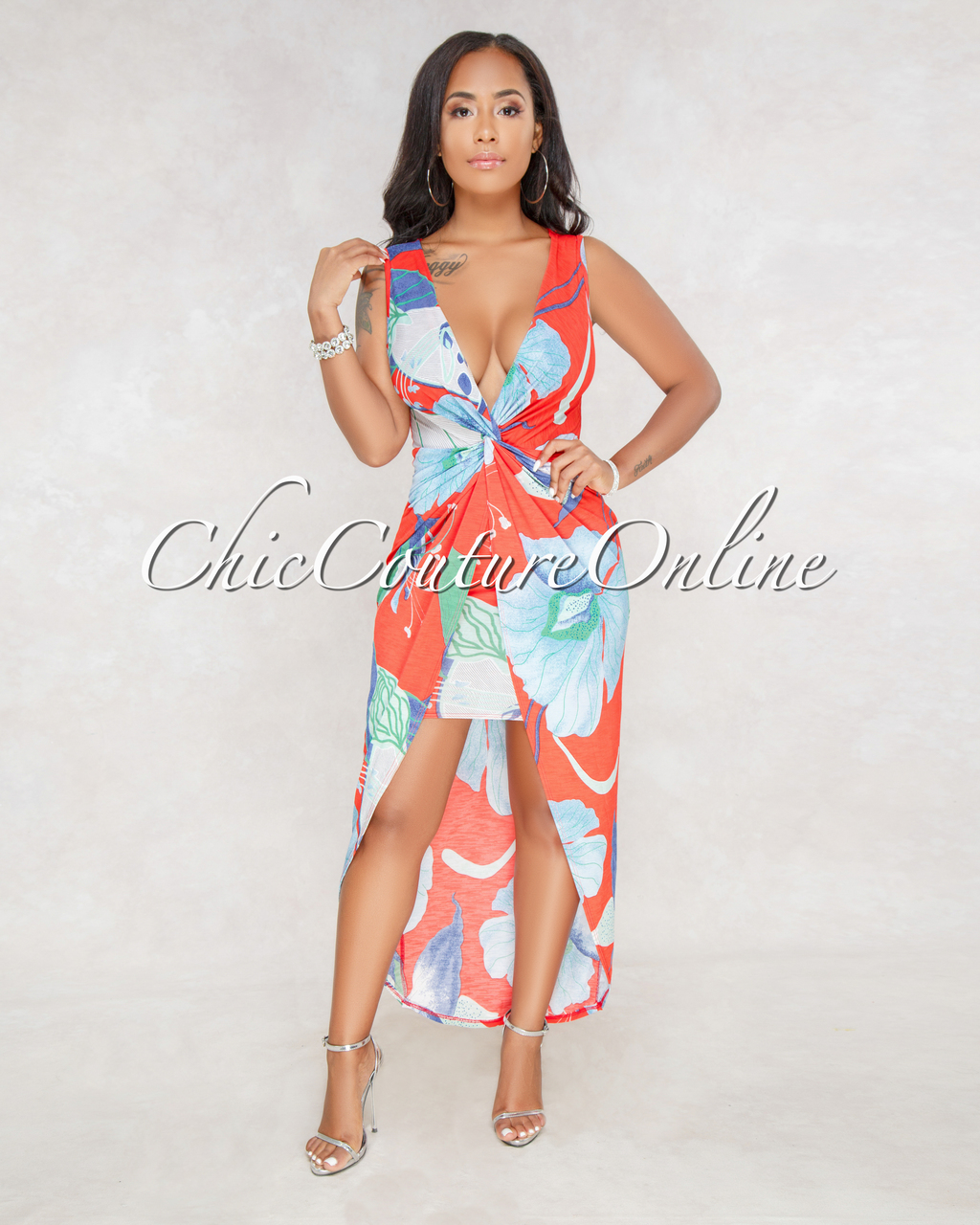 Quanna Red Multi-Color Print Plunging V-Neck Dress