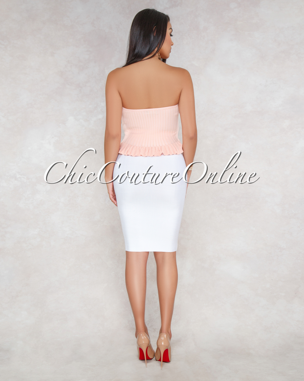Darly Blush Ribbed Luxe Strapless Top