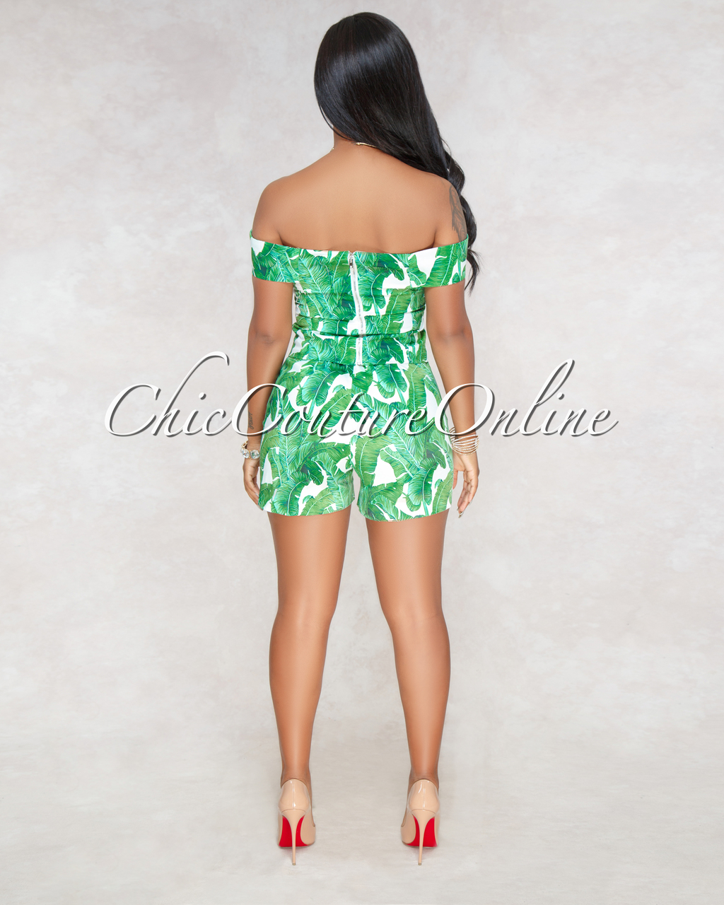 Shiva Off White Green Leaf Print Two Piece Set