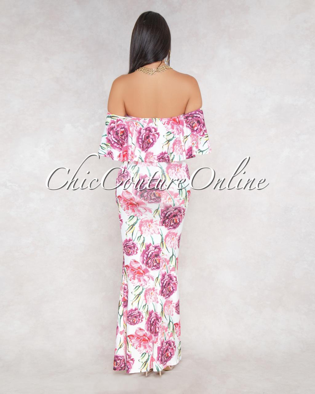 Kenyata Off White Pink Floral Print Off-The-Shoulder Maxi Dress