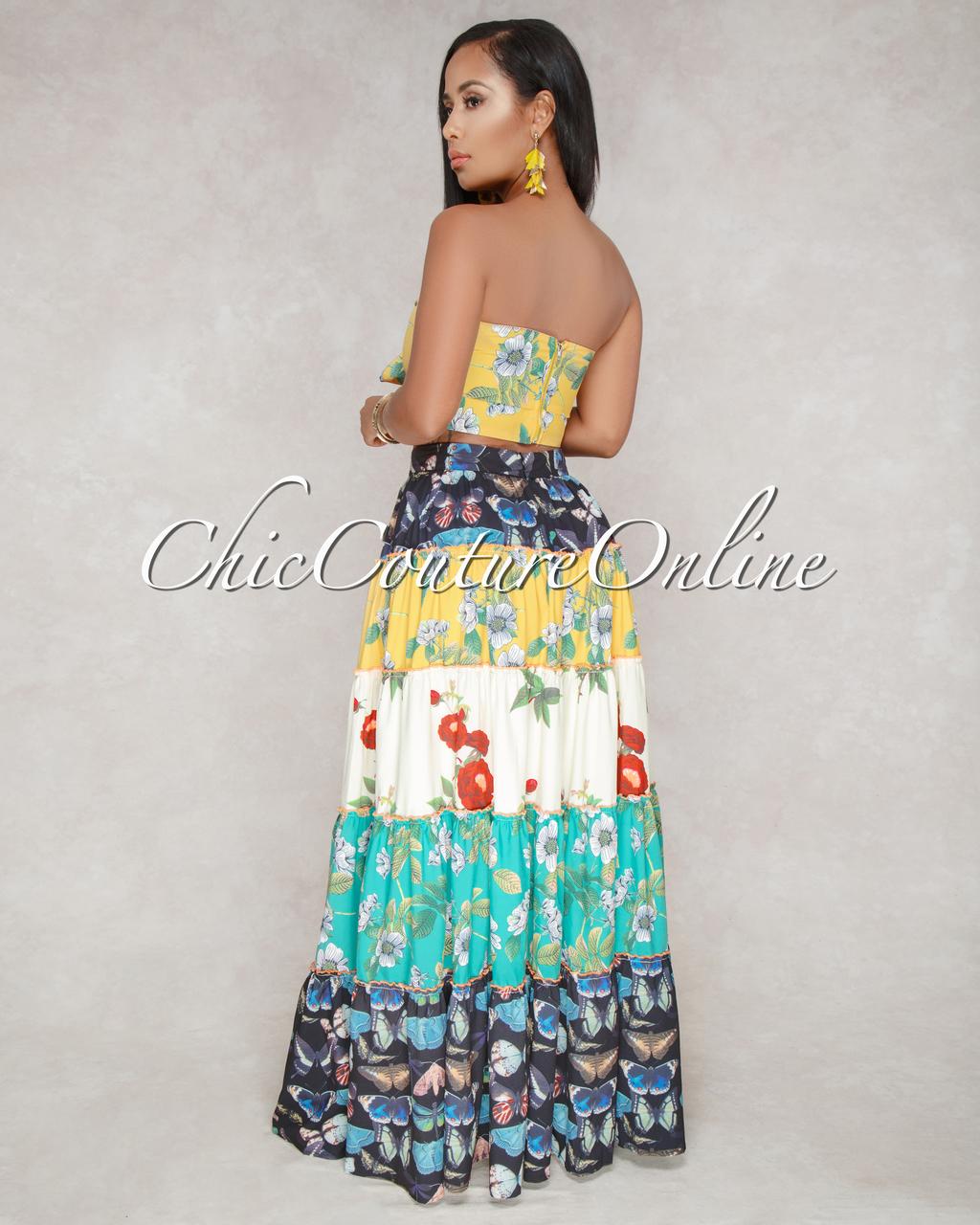 Marilu Multi-Color Floral Two Piece Skirt Set