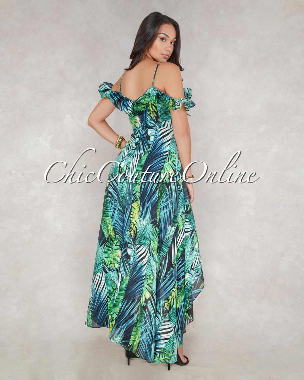 Tarin Black Green Leaf Print High-Low Maxi Dress